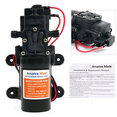 Amarine-Made 12V DC 1.2 GPM 35 PSI 21-Series Diaphragm Water Pressure Pump for Caravan/RV/Boat/Marine
