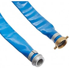 "Apache 98138015 1-1/2"" x 50' Blue PVC Lay-Flat Discharge Hose with Aluminum Pin Lug Fittings"