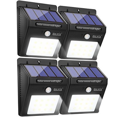 BAXIA TECHNOLOGY LED Solar Lights, Wireless Waterproof Outdoor Motion Sensor Security Night Lights for Outside Wall, Garden,Driveway, Steps, Patio(...