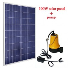 ECO-WORTHY 100W Solar Panel With 12V Solar Power Water Pump Pond For Irrigation Watering