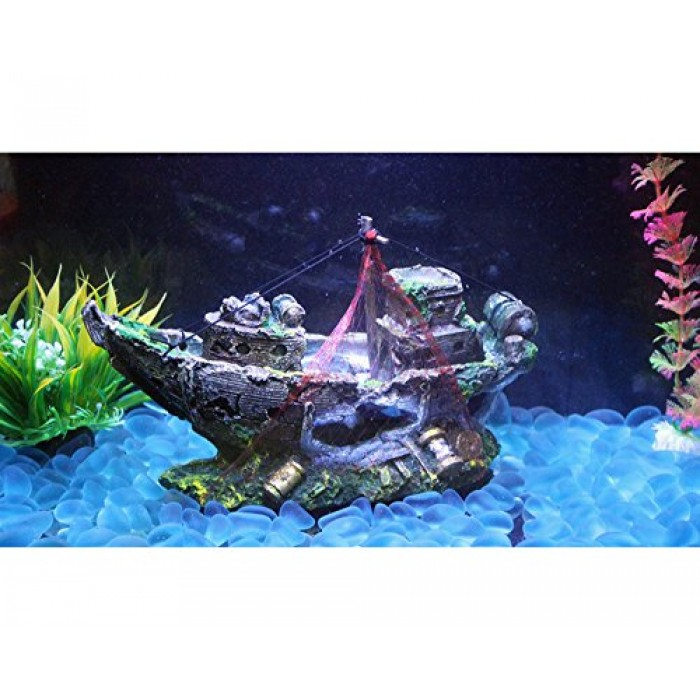 Geekercity resin home aquarium ornament wreck sunk ship for Aquarium decoration ship