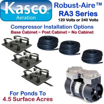 Kasco Marine Robust-Aire Aquatic Aeration System RA3NC - For Ponds to 4.5 Surface Acres, 120 Volts, No Cabinet Included