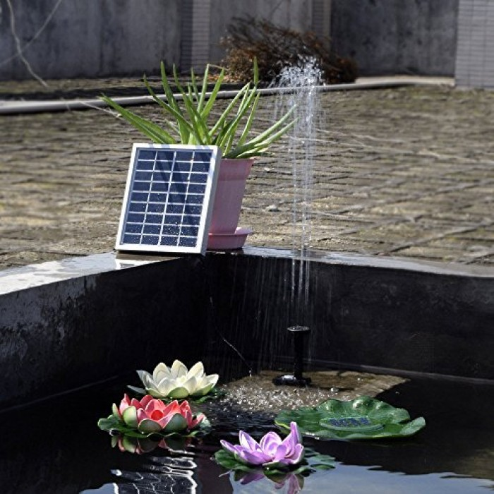 Rivenan 9v 2watts solar pump solar power panel kit water for Garden pool fountains