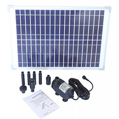 solariver Solar Water Pump Kit 400+GPH with 12V Brushless Submersible Water Pump and 20 Watt Solar Panel for DIY Solar Powered Pond Fountain Water ...
