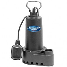 Superior Pump 92507 1/2 HP Cast Iron Sump Pump with Tethered Float Switch and 25-Foot Cord