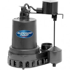 Superior Pump 92372 Thermoplastic Sump Pump with Vertical Float Switch, 1/3 HP