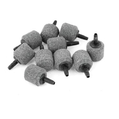 Uxcell 10-Piece Aquarium Cylinder Mini Bubble Air Stone, 21mm by 22mm, Gray