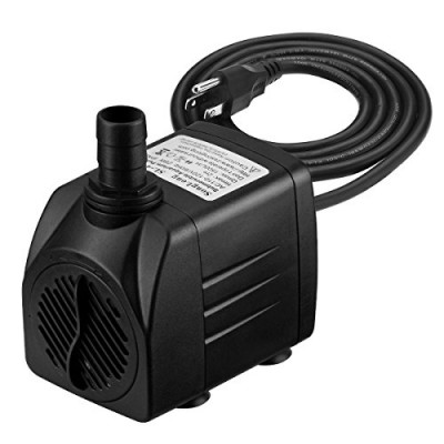 VicTsing 400 GPH Submersible Pump, Water Pump for Fish Aquarium, Fountains, Spout and Hydroponic Systems(25W, 5.9ft Power Cord, Two Nozzles)
