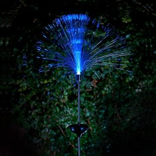 YK Pack of 2 Solar Fiber Optic Color-Changing Fountain Light Stake Garden Light